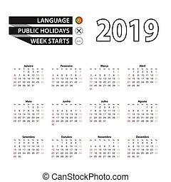 週, ポルトガル語, 始める, 言語, 2019, sunday., カレンダー