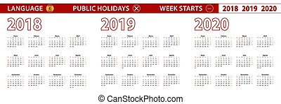 週, 始める, 年, 言語, ベクトル, 2020, sunday., スペイン語, 2019, 2018, カレンダー