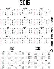週, 始める, 日曜日, 2016, 2018., カレンダー, 2017
