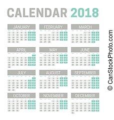 週, 月曜日, 単純である, 始める, バックグラウンド。, 2018, テンプレート, カレンダー, 白