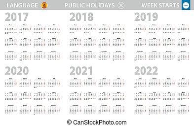 週, 言語, 始める, スペイン語, monday., 2017, 2018, 暦年, 2020, 2021, 2019, 2022.