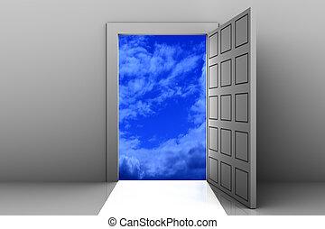 進入, 到, 天堂