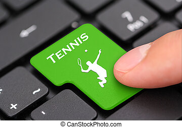 進入, 按鈕, 如, a, 網球, 符號