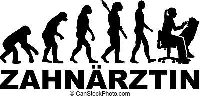 進化, タイトル, ドイツ語, 歯科医, 仕事, 女性