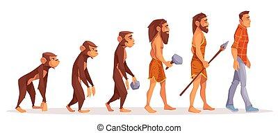 進化, 概念, ベクトル, 人間, 段階, 漫画