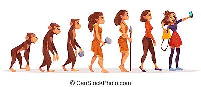 進化, 概念, ベクトル, womens, ファッション, 漫画