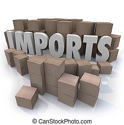 進口貨, 貿易, 箱子, 倉庫, 國際, 紙板