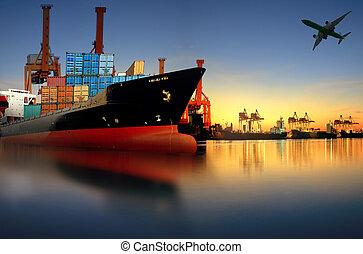 進口, 針對, 船, 船, 裝貨, 運輸, 港口, 出口, 容器, 發出貨運, 使用, 光, 院子, 早晨, 貨物, 美麗