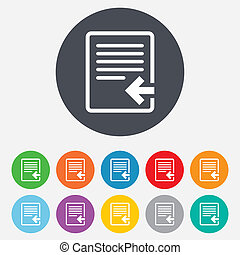 進口, icon., 文件, 符號。, 文件
