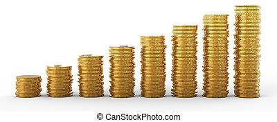 進展, 以及, success:, 黃金, 硬幣, 堆
