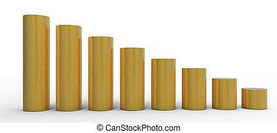 進展, 或者, degression:, 黃金, 硬幣, 堆