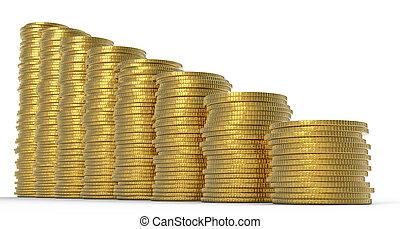 進展, 或者, drop:, 黃金, 硬幣, 堆
