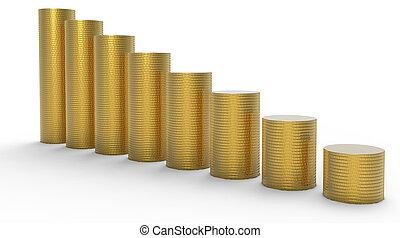 進展, 或者, loss:, 黃金, 硬幣, 堆