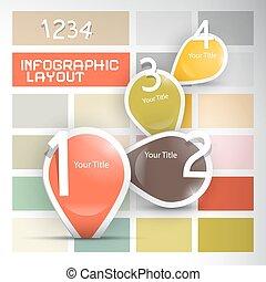 進歩, レトロ, 1(人・つ), ペーパー, 2, -, チュートリアル, セット, ベクトル, infographics, 4, 3, ステップ