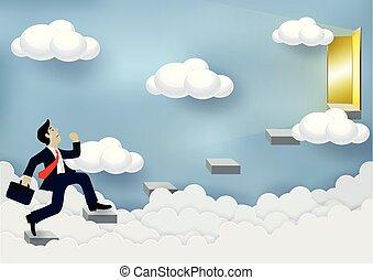 進歩, 階段, イラスト, work., concepts., 最も高く, 金融, door., ベクトル, 成功, ビジネス, ビジネスマン, 漫画, 空, 動くこと, 構成, 目的を達しなさい, の上, 生活