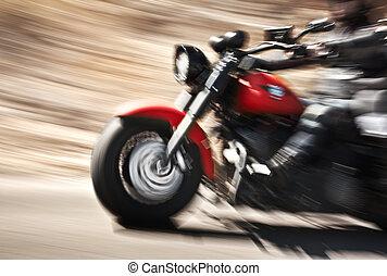 遅い, モーターバイク, 動き, 抽象的, バイカー, 乗馬