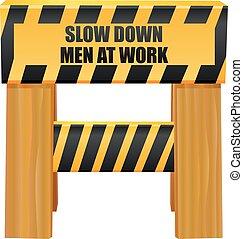 遅い, 仕事, 下方に, ベクトル, 男性, アイコン