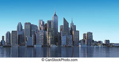 遅く, 建物, 超高層ビル, 一般的, 現代, light., 早く, 午後, water., 都市の景観, 朝, ∥...