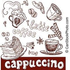 遅く, 甘いもの, カプチーノ, コーヒー
