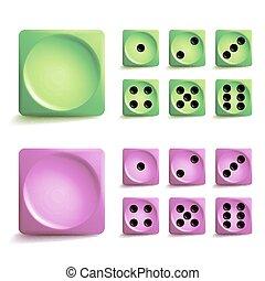 遊びさいころ, ベクトル, set., 別, 変形, ゲーム, 立方体, isolated., aauthentic, コレクション, アイコン, 中に, 現実的, style., ギャンブル, さいころ, 回転する, concept.