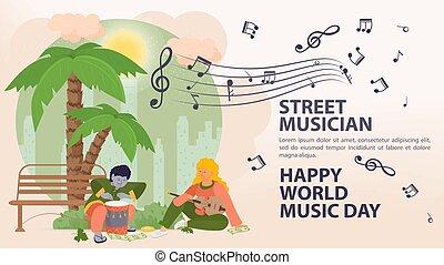 遊び, アイコン, 日, 通り, やし, 旗, 女, ドラム, 広告板, 世界音楽, 音楽家, ギター, 下に, 人, 平ら, 漫画, イラスト, ベクトル, 木, 人々, メモ