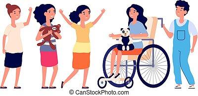 遊び, グループ, 一緒に。, 女の子, 不能, 男の子, イラスト, 適応, 子供, ベクトル, 味方, ...