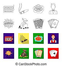 遊び, ジャッキ, カード。, スタイル, シンボル, ビットマップ, セット, 平ら, ギャンブル, 株, web., カード, アウトライン, アイコン, お金, カジノ, イラスト, 勝たれた, 袋, ビンゴ, コレクション, 汗