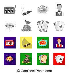 遊び, ジャッキ, カード。, スタイル, シンボル, ビットマップ, セット, 平ら, ギャンブル, 株, web., モノクローム, カード, アイコン, お金, カジノ, イラスト, 勝たれた, 袋, ビンゴ, コレクション, 汗