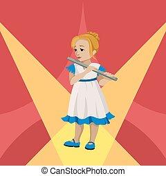 遊び, ベクトル, stage., イラスト, フルート, 女の子, 若い