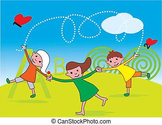 遊び, 光景, 公園, 子供, 前部