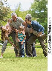 遊び, 公園, 家族