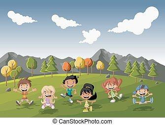 遊び, 公園, 緑, 漫画, 子供