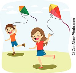 遊び, 凧, 子供
