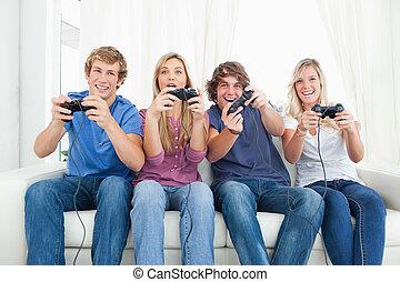 遊び, 友人, ビデオ, 一緒に, ゲーム, グループ