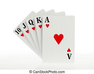 遊び, 同じ高さに, ポーカー, カード, 皇族, 手, まっすぐに