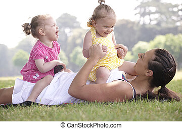 遊び, 娘, 母