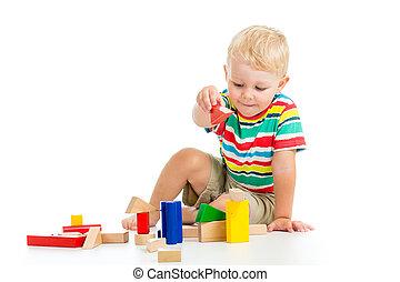 遊び, 子供, 木製のおもちゃ, 男の子