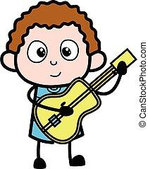 遊び, 子供, 漫画, ギター