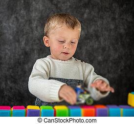 遊び, 小さい 男の子, おもちゃ, かわいい, 肖像画, オートバイ