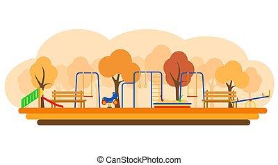 遊び, 平ら, 運動場, ベクトル, 装置, 子供, illustration., スタイル