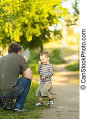 遊び, 彼の, 父, 若い, 息子