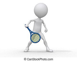 遊び, 抽象的, 人間, テニス, 3d