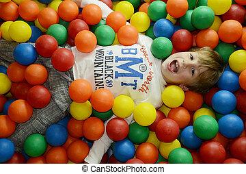 遊び, 有色人種, 幸せ, ボール, 子供