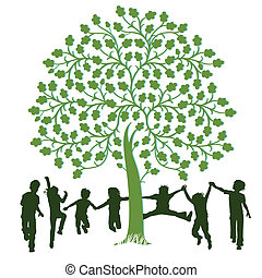 遊び, 木, 子供, のまわり