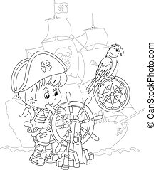 遊び, 海, 小さい 男の子, 海賊