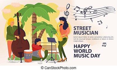 遊び, 男性, ドラム, アイコン, ダブル, 日, 通り, ポスター, サクソフォーン, やし, 旗, 背景, 世界音楽, 音楽家, 女性, 木, 平ら, 漫画, イラスト, ベクトル, ベース, メモ