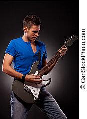 遊び, 若い, 偉人, 感情, 人, ギター