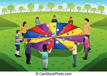 遊び, 虹, パラシュート, 教師, 学生