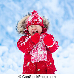 遊び, 赤ん坊, 雪, winter.