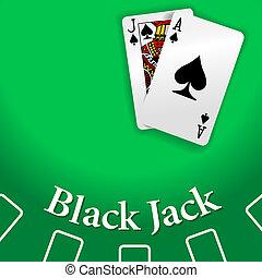 遊び, 黒いジャック, カジノ, テーブル, カード
